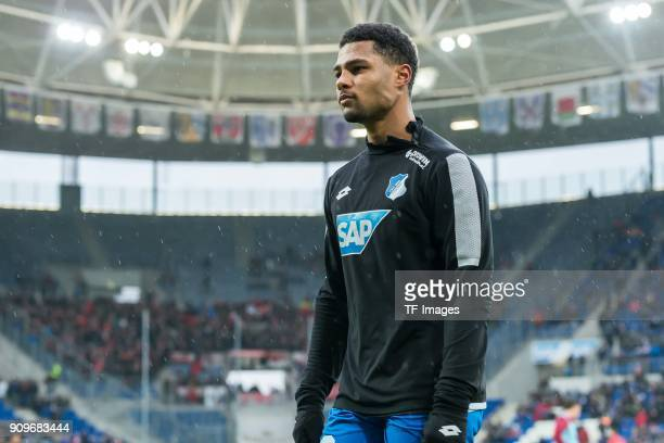 Serge David Gnabry of Hoffenheim looks on prior to the Bundesliga match between TSG 1899 Hoffenheim and Bayer 04 Leverkusen at RheinNeckarArena on...