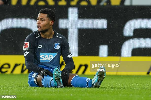 Serge David Gnabry of Hoffenheim on the ground during the Bundesliga match between TSG 1899 Hoffenheim and Bayer 04 Leverkusen at RheinNeckarArena on...