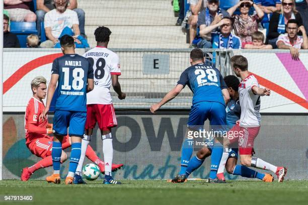 Serge David Gnabry of Hoffenheim scores the team`s first goal during the Bundesliga match between TSG 1899 Hoffenheim and Hamburger SV at Wirsol...