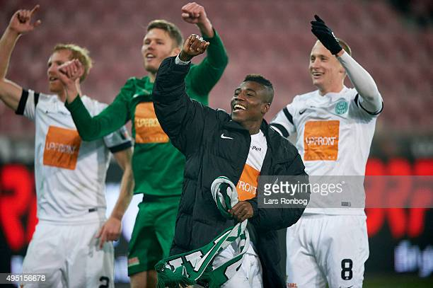 Serge Deble of Viborg FF celebrate their victory after the Danish Alka Superliga match between FC Midtjylland and Viborg FF at MCH Arena on October...