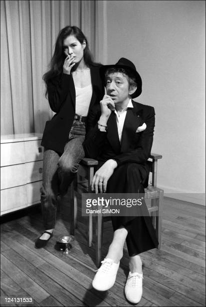 Serge Gainsbourg and Bambou on Tv set In Paris France On March 31 1982