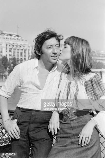 Serge Gainsbourg and Jane Birkin in Paris with La Samaritaine department store in the background, 26th August 1970