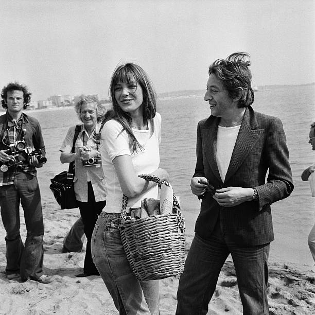 Serge Gainsbourg and Jane Birkin on the beach in Cannes...
