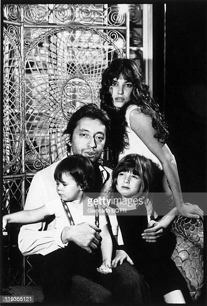 Serge Gainsbourg and Jane Birkin with their daughter Charlotte Gainsbourg And Kate Barry in France in 1973