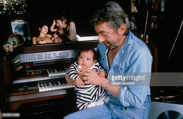 Serge Gainsbourg in his home with his son Lulu