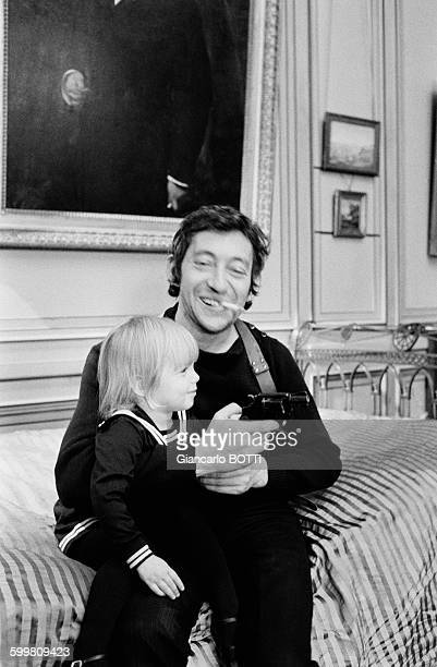 Serge Gainsbourg with Kate Barry in France, circa 1970 .