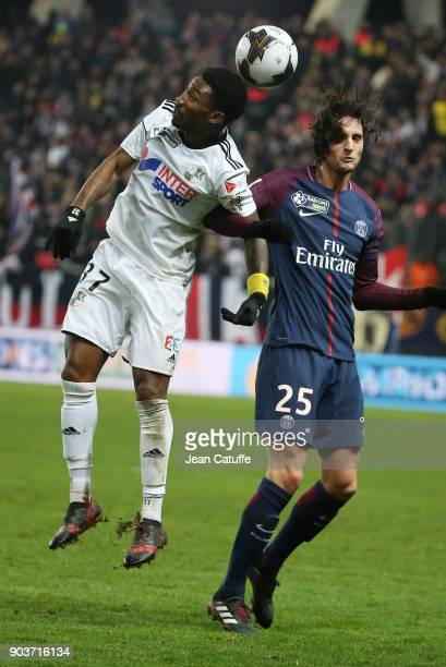 Serge Gakpe of Amiens Adrien Rabiot of PSG during the French League Cup match between Amiens SC and Paris Saint Germain at Stade de la Licorne on...