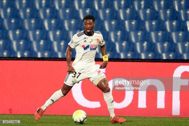 Serge Gakpe of Amiens during the Ligue 1 match between Montpellier Herault SC and Amiens SC at Stade de la Mosson on November 4 2017 in Montpellier
