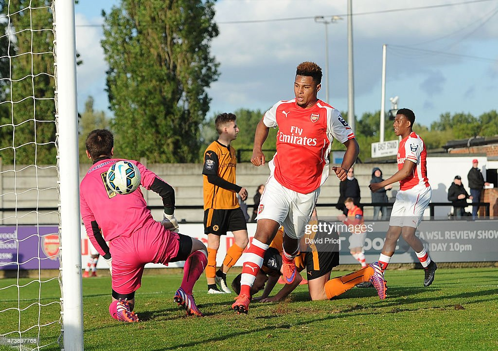 Serge Gnabry celebrates scoring Arsenal's 2nd goal during the match between Arsenal U21s and Wolverhampton Wanderers U21s at Meadow Park on May 18, 2015 in Borehamwood, England.
