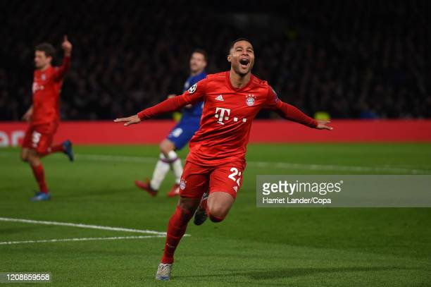Serge Gnabry FC Bayern Munich celebrates after scoring his team's second goal during the UEFA Champions League round of 16 first leg match between...