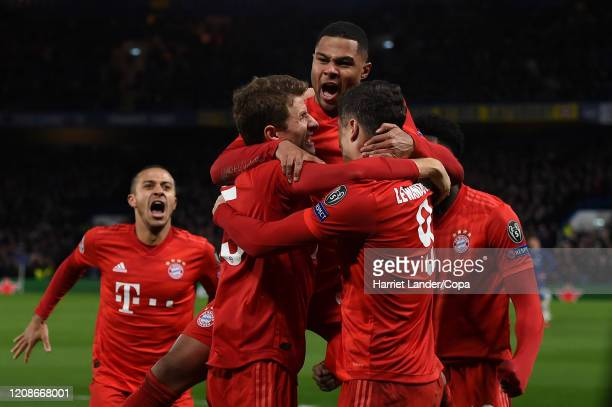 Serge Gnabry FC Bayern Munich celebrates after scoring his team's first goal during the UEFA Champions League round of 16 first leg match between...