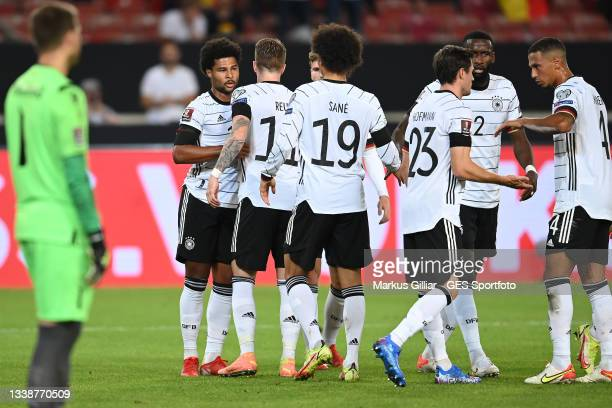 Serge Gnabry, Marco Reus, Leroy Sane celebrates their team's third goal during the 2022 FIFA World Cup Qualifier match between Germany and Armenia at...
