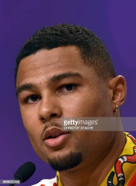 Serge Gnabry midfielder of German first division Bundesliga football club 1 FC Bayern Munich attends a press conference in Munich southern Germany on...