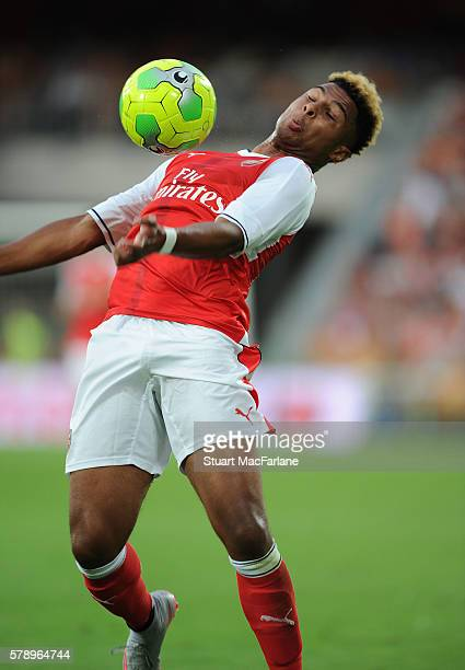 Serge Gnabry of Arsenal during a pre season friendly between RC Lens and Arsenal at Stade BollaertDelelis on July 22 2016 in Lens