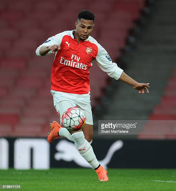 Serge Gnabry of Arsenal during the Barclays Premier League match between Arsenal and Newcastle United at Emirates Stadium on April 8 2016 in London...