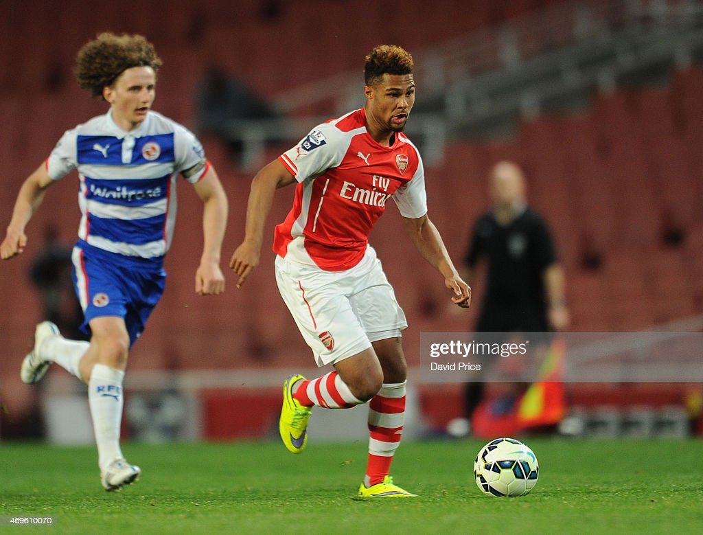 Serge Gnabry of Arsenal during the match between Arsenal U21 and Reading U21 in the Barclays Premier U21 League at Emirates Stadium on April 13, 2015 in London, England.
