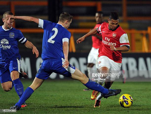Serge Gnabry of Arsenal is tackled by Matt Pennington of Everton during the FA Youth Cup 5th Round match between Arsenal and Everton at Underhill...