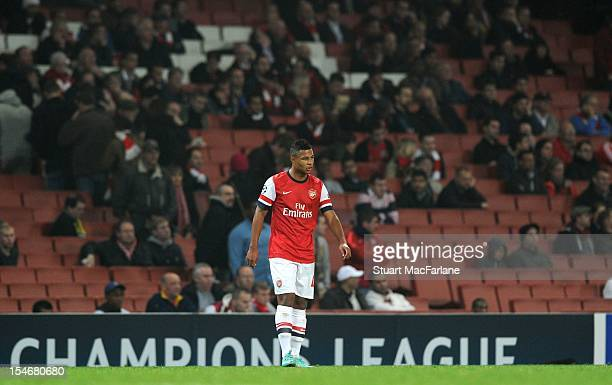 Serge Gnabry of Arsenal plays in front empty seats at Emirates Stadium during the UEFA Champions League Group B match between Arsenal FC and FC...