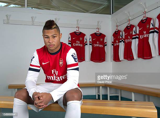 Serge Gnabry of Arsenal poses during a photo shoot at London Colney on December 05 2012 in St Albans England