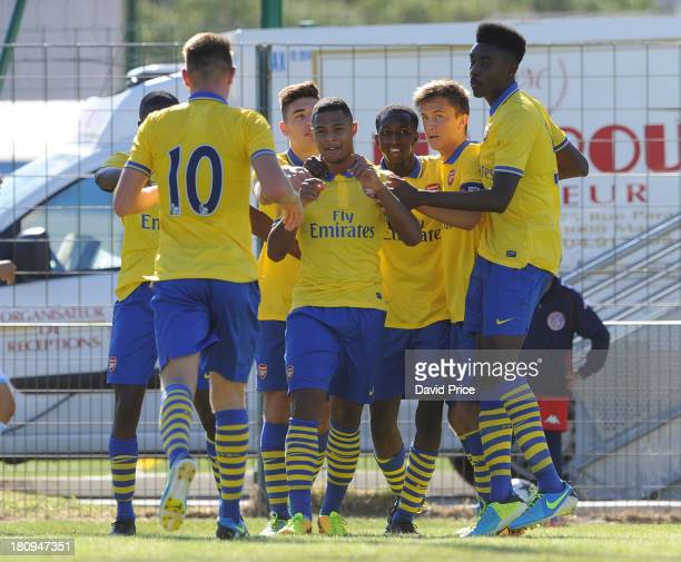 Serge Gnabry of Arsenal U19 celebrates with his teammates after scoring their third goal during the UEFA Youth League match between Olympic Marseille...