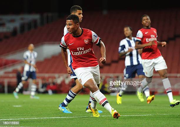Serge Gnabry of Arsenal U21 celebrates after scoring a goal during the U21 Premier League match between Arsenal U21 and West Bromwich Albion U21 at...