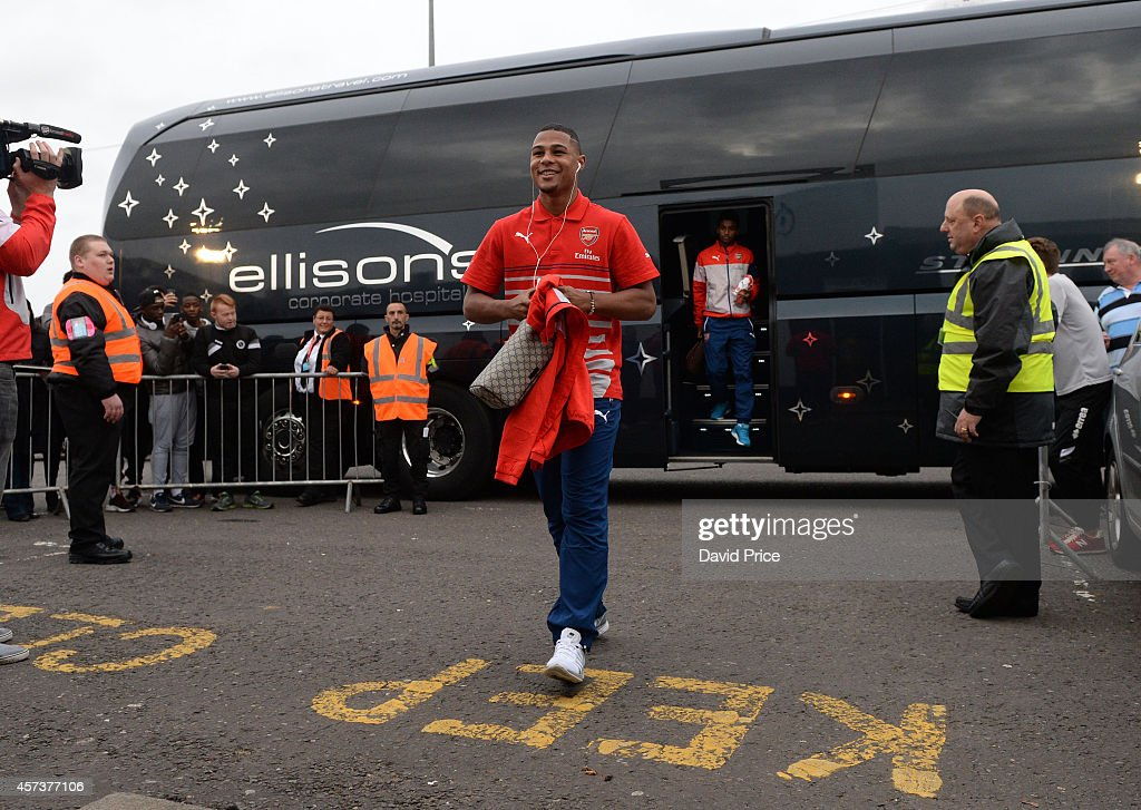 Serge Gnabry of Arsenal walks into Meadow Park Stadium before the match between Arsenal U21 and Blackburn U21 in the Barclays Premier U21 League at Meadow Park on October 17, 2014 in Borehamwood, England.