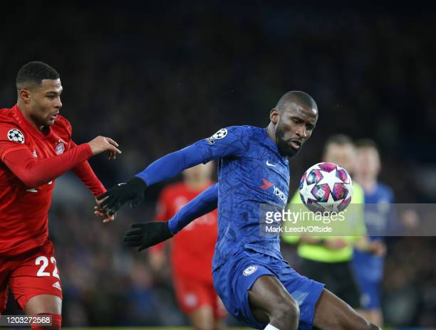 Serge Gnabry of Bayern and Antonio Rudiger of Chelsea during the UEFA Champions League round of 16 first leg match between Chelsea FC and FC Bayern...