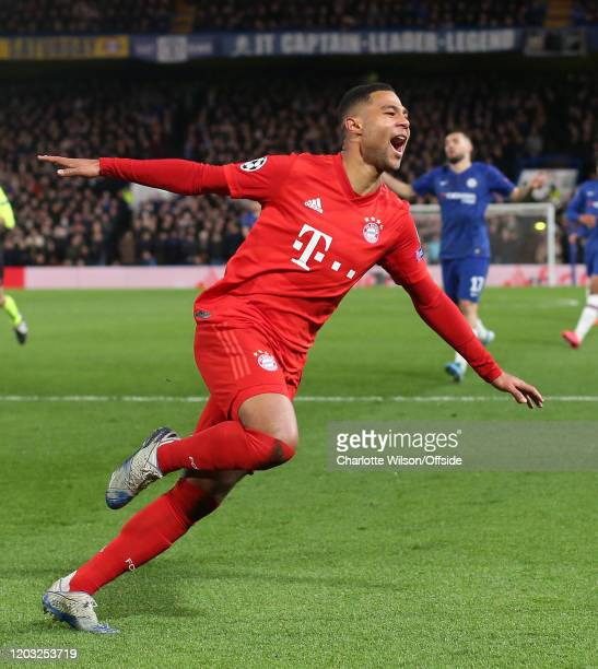 Serge Gnabry of Bayern celebrates scoring their 2nd goal during the UEFA Champions League round of 16 first leg match between Chelsea FC and FC...