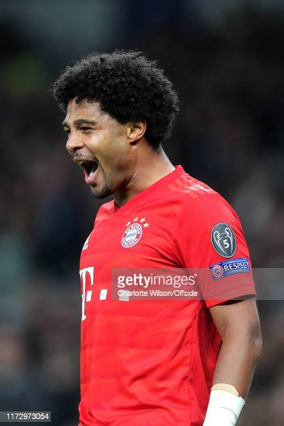 Serge Gnabry of Bayern celebrates scoring their 4th goal during the UEFA Champions League group B match between Tottenham Hotspur and Bayern Muenchen...