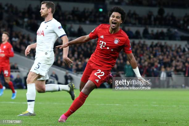 Serge Gnabry of Bayern celebrates scoring their 5th goal during the UEFA Champions League group B match between Tottenham Hotspur and Bayern Muenchen...