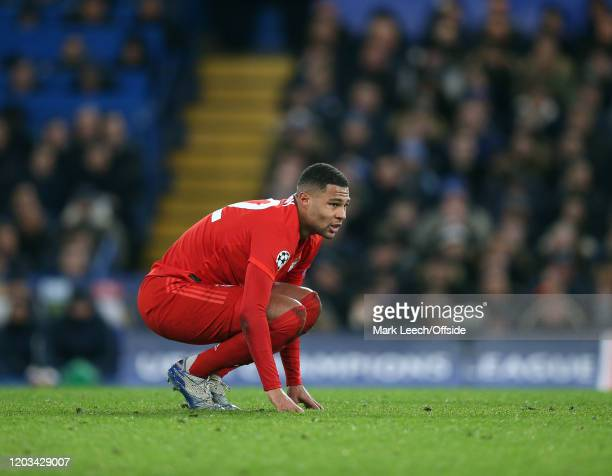 Serge Gnabry of Bayern during the UEFA Champions League round of 16 first leg match between Chelsea FC and FC Bayern Muenchen at Stamford Bridge on...