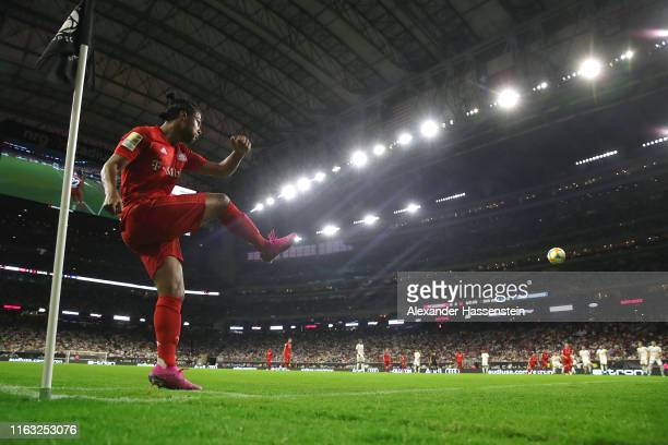 Serge Gnabry of Bayern kicks a corner during the International Champions Cup match between Bayern Muenchen and Real Madrid in the 2019 International...