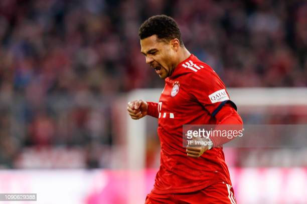 Serge Gnabry of Bayern Muenchen celebrates after scoring his team's second goal during the Bundesliga match between FC Bayern Muenchen and VfB...