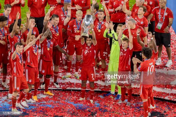 Serge Gnabry of Bayern Muenchen cheers after winning the Supercup after the UEFA Super Cup match between FC Bayern Munich and FC Sevilla at Puskas...