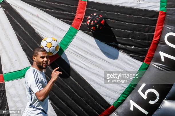 Serge Gnabry of Bayern Muenchen gestures during the FC Bayern Muenchen Training Session on April 16, 2020 in Muenchen, Germany.