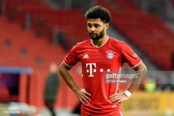 Serge Gnabry of Bayern Muenchen looks dejected during the Bundesliga match between Bayer 04 Leverkusen and FC Bayern Muenchen at BayArena on December...