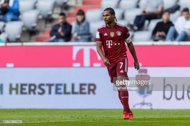 Serge Gnabry of Bayern Muenchen looks on during the Pre-Season Match between FC Bayern Muenchen and Borussia Moenchengladbach at Allianz Arena on...