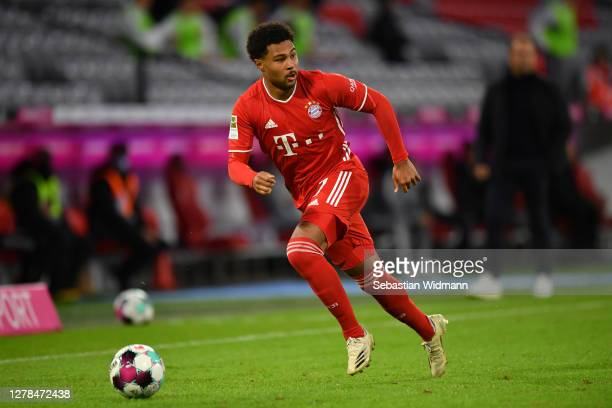 Serge Gnabry of Bayern Muenchen plays the ball during the Bundesliga match between FC Bayern Muenchen and Hertha BSC at Allianz Arena on October 04,...