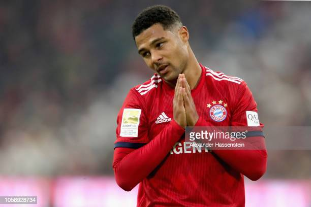 Serge Gnabry of Bayern Muenchen reacts during the Bundesliga match between FC Bayern Muenchen and SportClub Freiburg at Allianz Arena on November 3...
