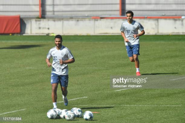 Serge Gnabry of Bayern Muenchen runs towards balls during a training session at Saebener Strasse training ground on April 06 2020 in Munich Germany