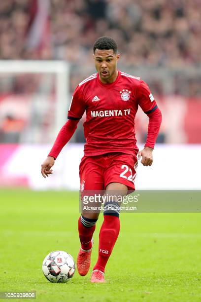Serge Gnabry of Bayern Muenchen runs with the ball during the Bundesliga match between FC Bayern Muenchen and SportClub Freiburg at Allianz Arena on...