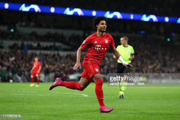 Serge Gnabry of Bayern Munich celebrates after scoring a goal to make it 14 during the UEFA Champions League group B match between Tottenham Hotspur...