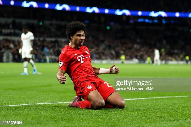 Serge Gnabry of Bayern Munich celebrates after scoring a goal to make it 25 during the UEFA Champions League group B match between Tottenham Hotspur...