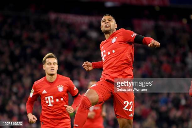 Serge Gnabry of Bayern Munich celebrates after scoring his team's first goal during the Bundesliga match between FC Bayern Muenchen and SC Paderborn...
