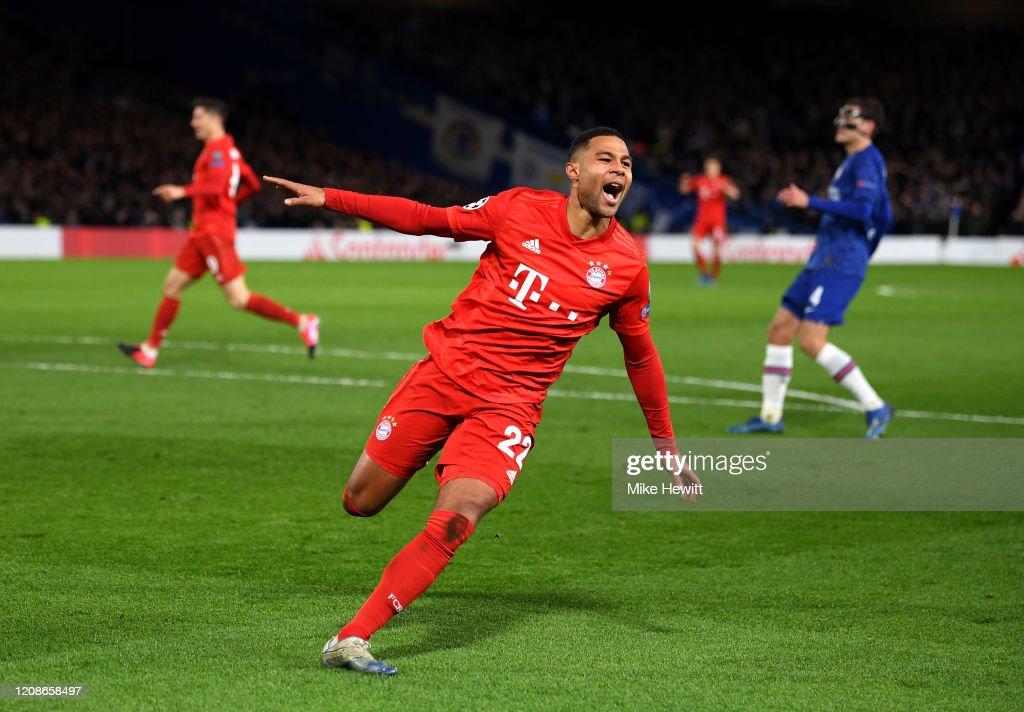 Serge Gnabry of Bayern Munich celebrates after scoring his team's ...