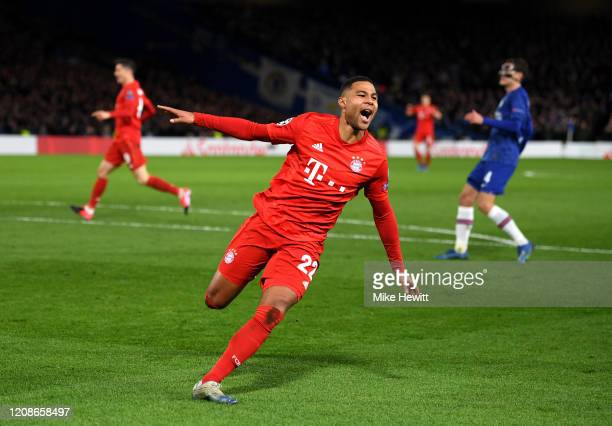 Serge Gnabry of Bayern Munich celebrates after scoring his team's second goal during the UEFA Champions League round of 16 first leg match between...