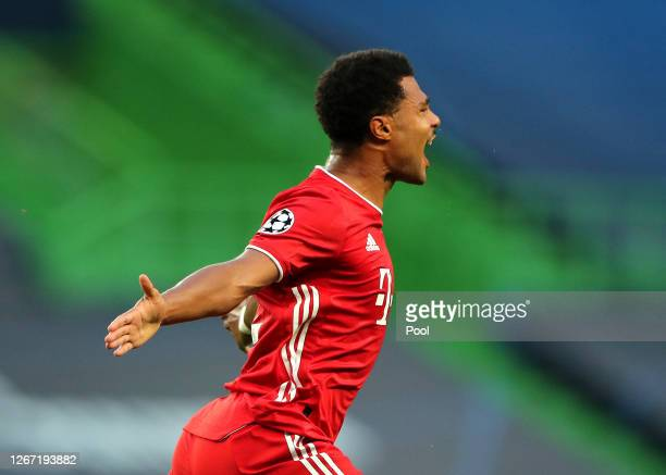 Serge Gnabry of Bayern Munich celebrates after scoring his team's first goal during the UEFA Champions League Semi Final match between Olympique...