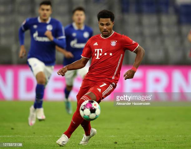 Serge Gnabry of Bayern Munich in action during the Bundesliga match between FC Bayern Muenchen and FC Schalke 04 at Allianz Arena on September 18,...
