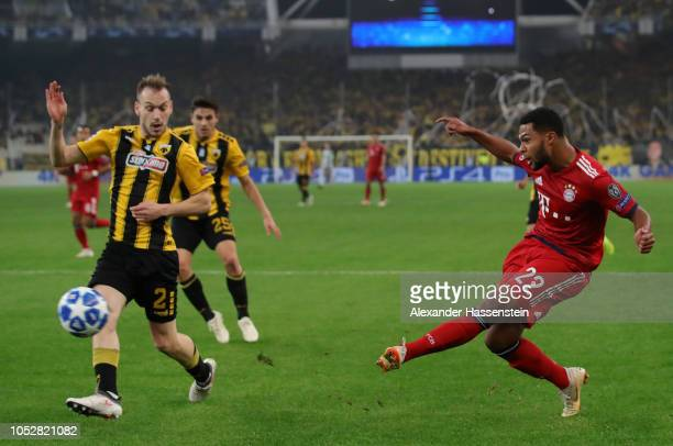 Serge Gnabry of Bayern Munich in action during the Group E match of the UEFA Champions League between AEK Athens and FC Bayern Muenchen at Athens...