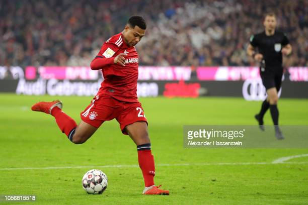 Serge Gnabry of Bayern Munich scores his sides first goal during the Bundesliga match between FC Bayern Muenchen and SportClub Freiburg at Allianz...